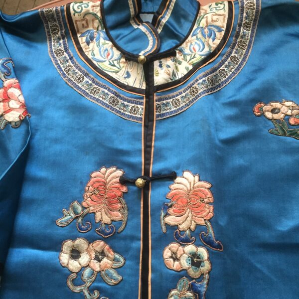 Chinese Blue Silk Satin Embroidered Robe