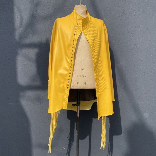 Call and Response yellow leather fringed jacket