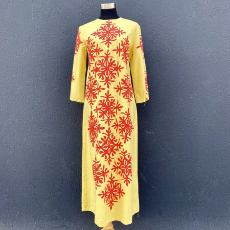 Vintage yellow and red Reverse applique caftan