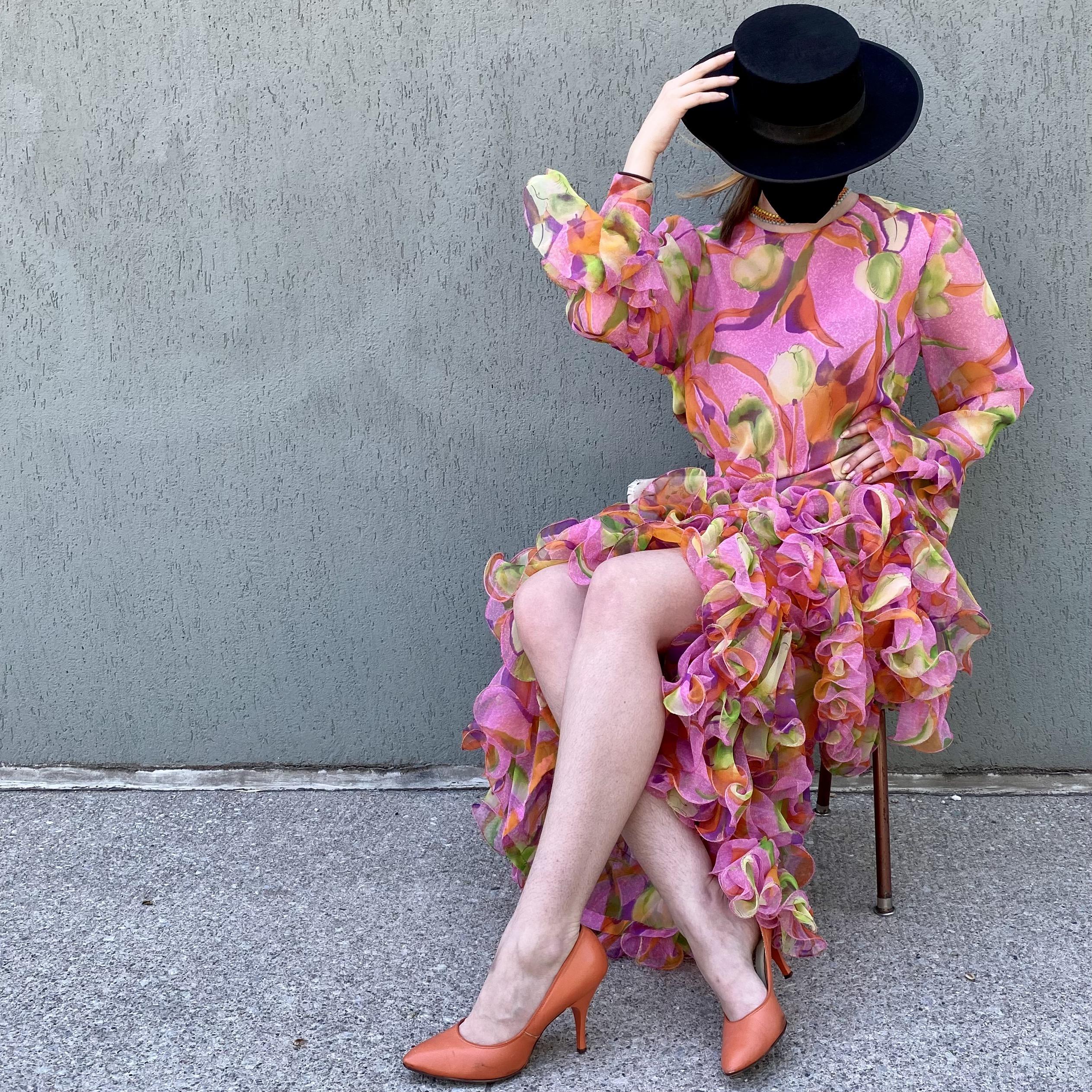Mullock Pink Tropical Ruffle Dress
